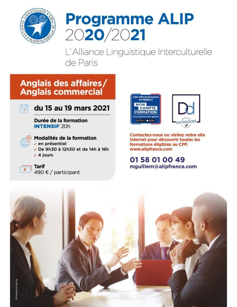 ALIP programme anglais des affaires intensif mars 2021